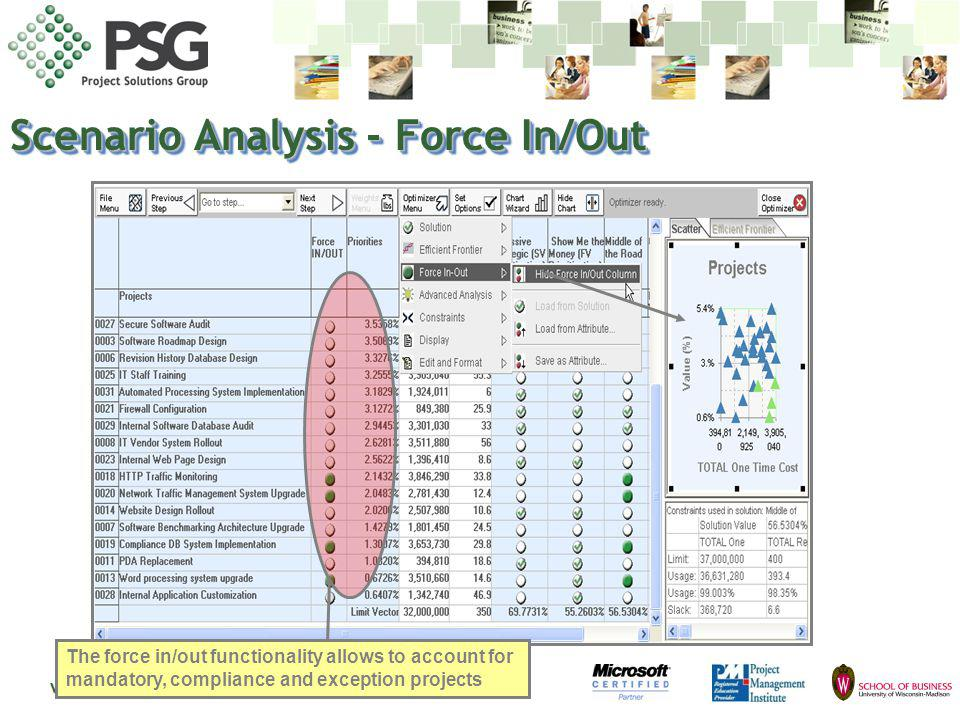 www.psgus.com Scenario Analysis - Force In/Out The force in/out functionality allows to account for mandatory, compliance and exception projects