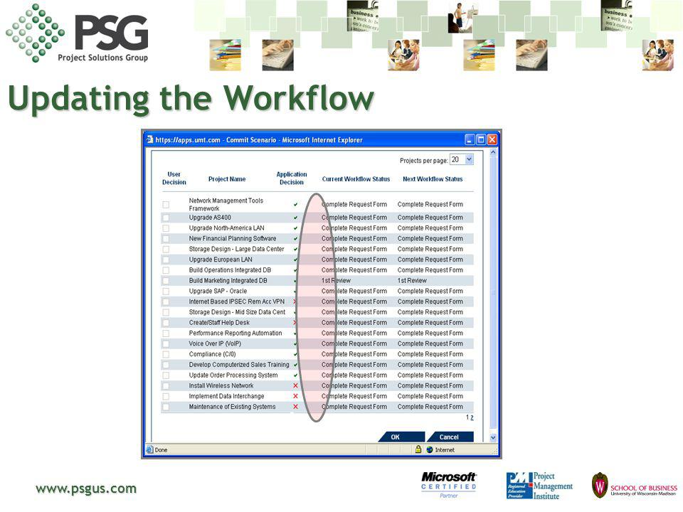 www.psgus.com Updating the Workflow