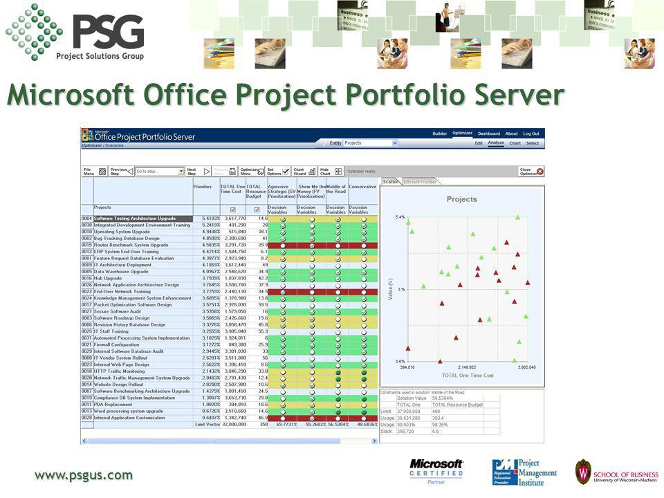 www.psgus.com Microsoft Office Project Portfolio Server
