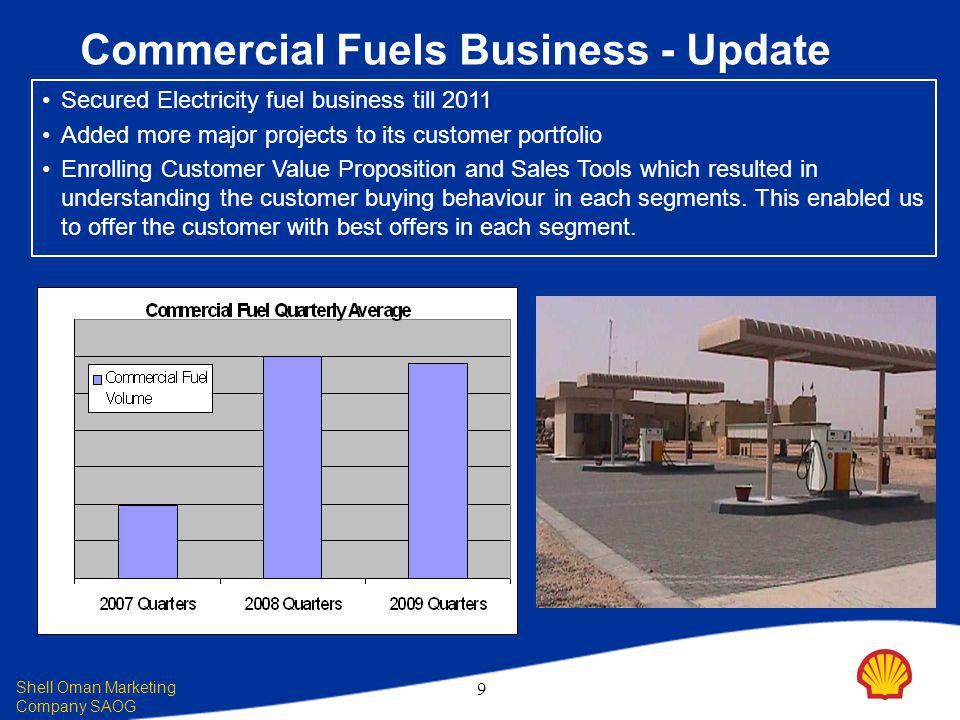 Shell Oman Marketing Company SAOG 9 Commercial Fuels Business - Update Secured Electricity fuel business till 2011 Added more major projects to its customer portfolio Enrolling Customer Value Proposition and Sales Tools which resulted in understanding the customer buying behaviour in each segments.