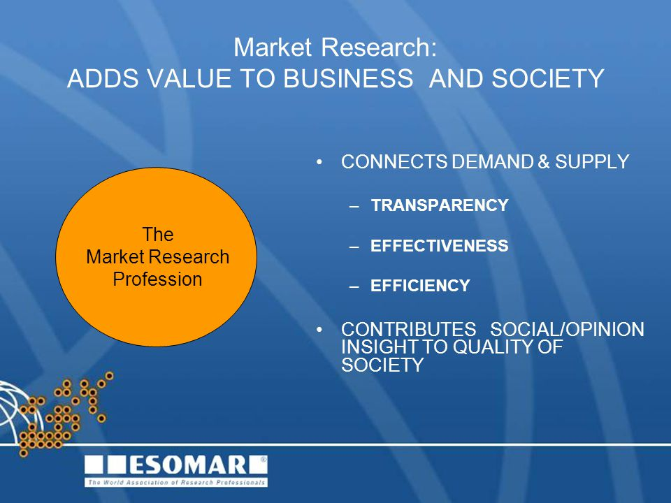 Market Research: ADDS VALUE TO BUSINESS AND SOCIETY CONNECTS DEMAND & SUPPLY –TRANSPARENCY –EFFECTIVENESS –EFFICIENCY CONTRIBUTES SOCIAL/OPINION INSIGHT TO QUALITY OF SOCIETY The Market Research Profession