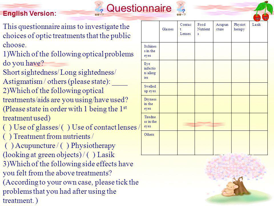 Questionnaire English Version: This questionnaire aims to investigate the choices of optic treatments that the public choose.
