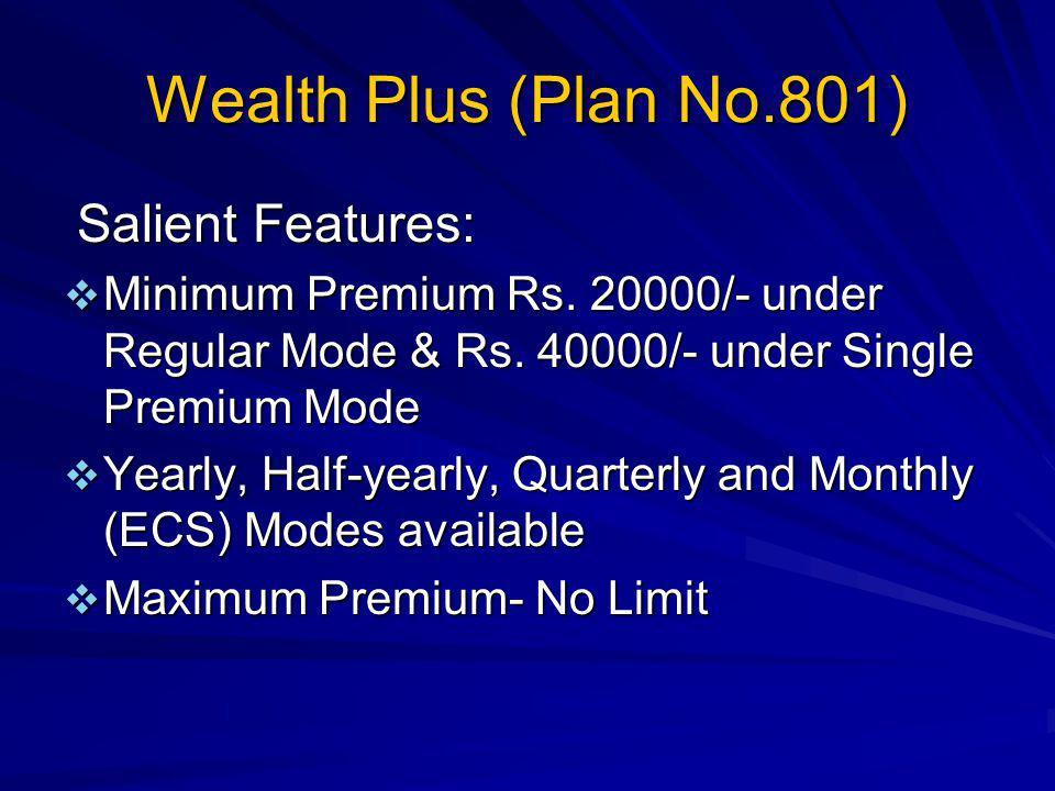 Wealth Plus (Plan No.801) Salient Features: Minimum Premium Rs.