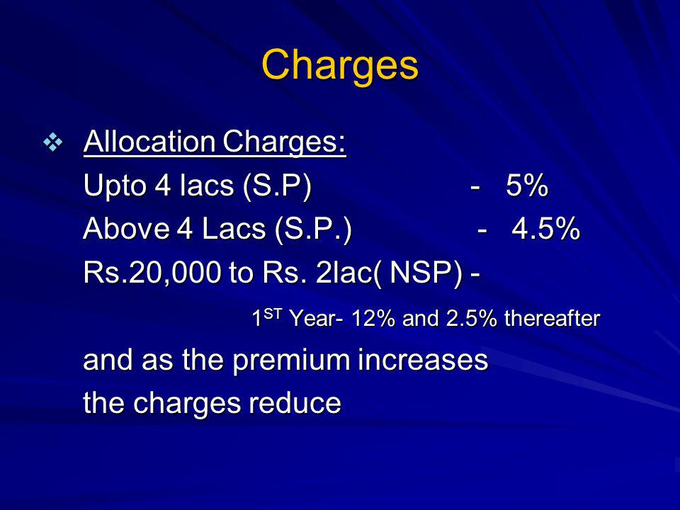 Charges Allocation Charges: Allocation Charges: Upto 4 lacs (S.P) - 5% Upto 4 lacs (S.P) - 5% Above 4 Lacs (S.P.) - 4.5% Above 4 Lacs (S.P.) - 4.5% Rs.20,000 to Rs.