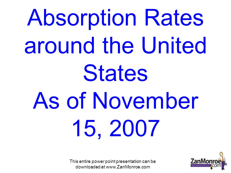 This entire power point presentation can be downloaded at www.ZanMonroe.com Absorption Rates around the United States As of November 15, 2007