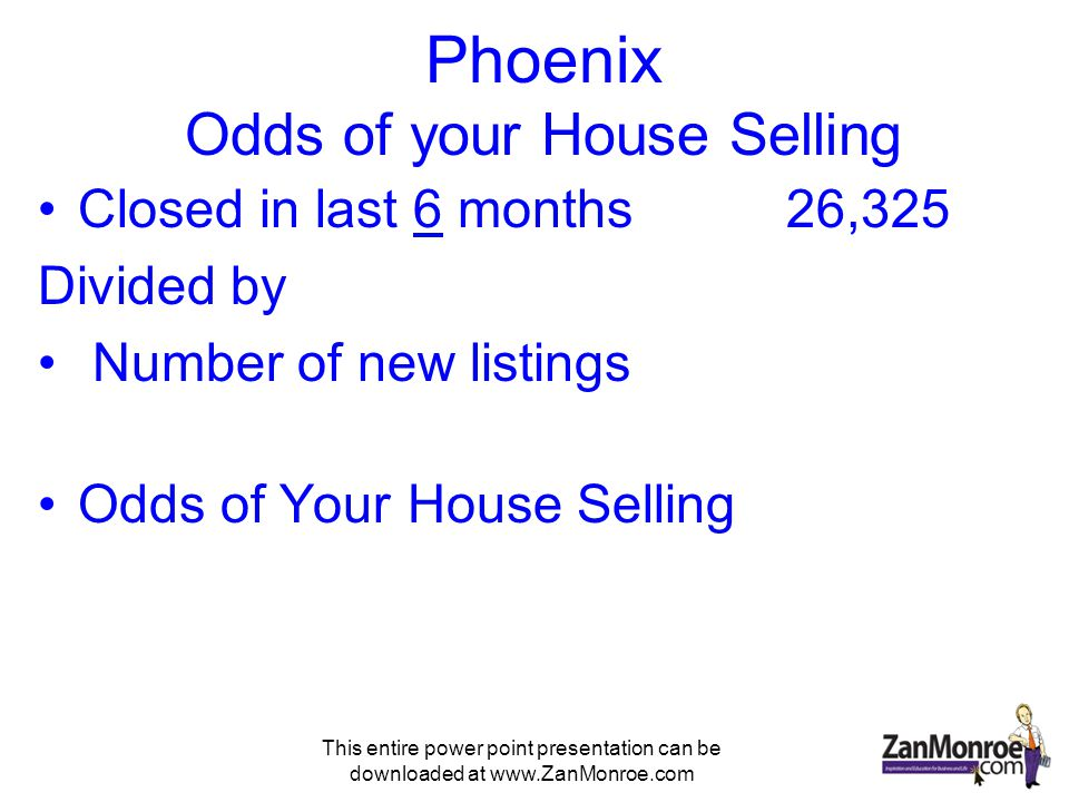 This entire power point presentation can be downloaded at www.ZanMonroe.com Phoenix Odds of your House Selling Closed in last 6 months26,325 Divided by Number of new listings Odds of Your House Selling