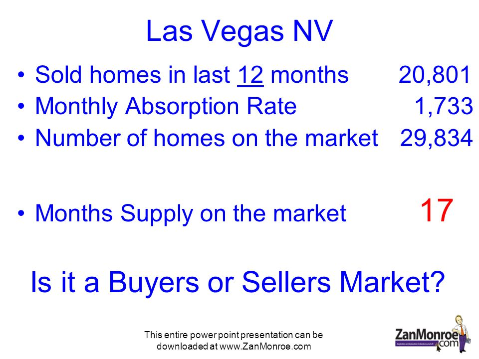 This entire power point presentation can be downloaded at www.ZanMonroe.com Las Vegas NV Sold homes in last 12 months 20,801 Monthly Absorption Rate 1,733 Number of homes on the market 29,834 Months Supply on the market 17 Is it a Buyers or Sellers Market?