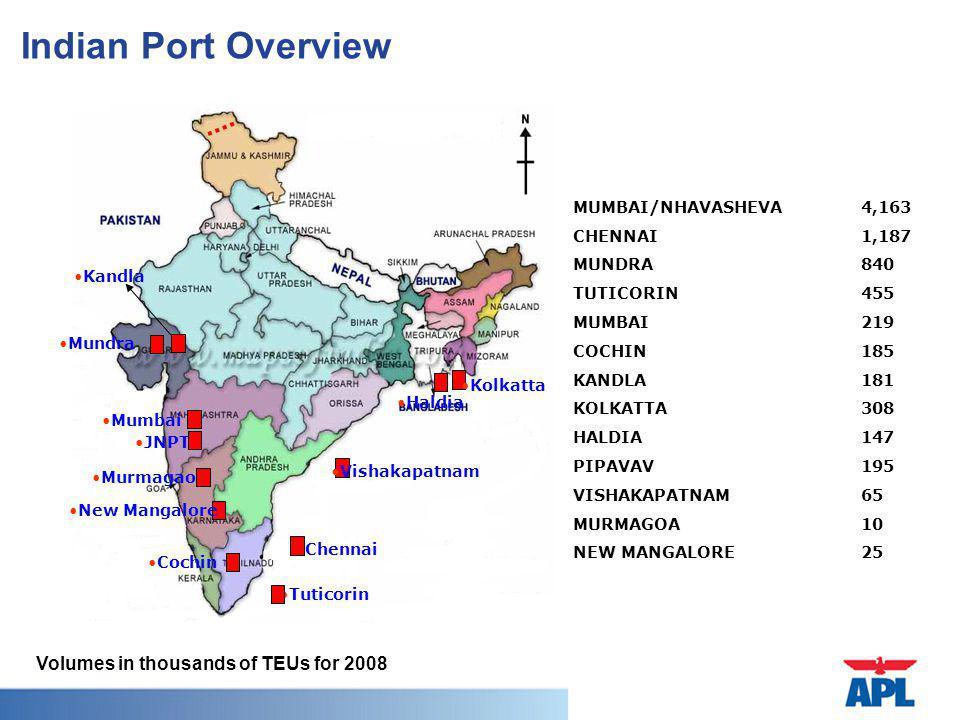 Indian Port Overview Haldia JNPT Chennai Mumbai Murmagao New Mangalore Cochin Tuticorin Mundra Kolkatta Vishakapatnam Kandla MUMBAI/NHAVASHEVA 4,163 CHENNAI1,187 MUNDRA 840 TUTICORIN 455 MUMBAI 219 COCHIN 185 KANDLA 181 KOLKATTA 308 HALDIA 147 PIPAVAV 195 VISHAKAPATNAM 65 MURMAGOA 10 NEW MANGALORE 25 Volumes in thousands of TEUs for 2008