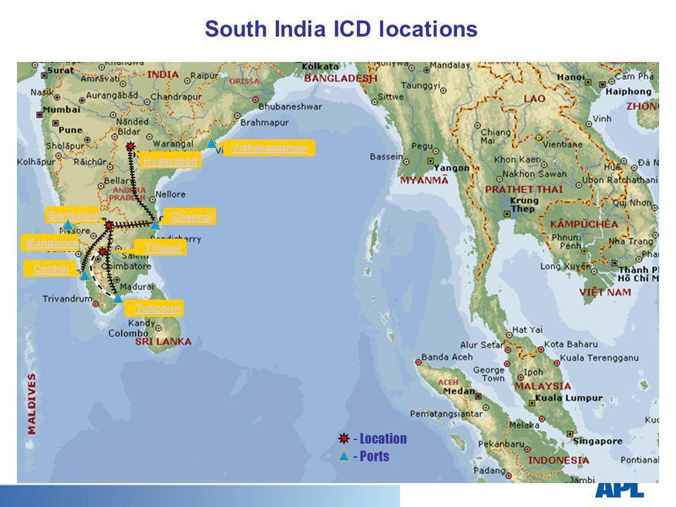 Colombo Tirupur Bangalore Hyderabad Vishakapatnam Chennai Mangalore Cochin Tuticorin - Location - Ports South India ICD locations