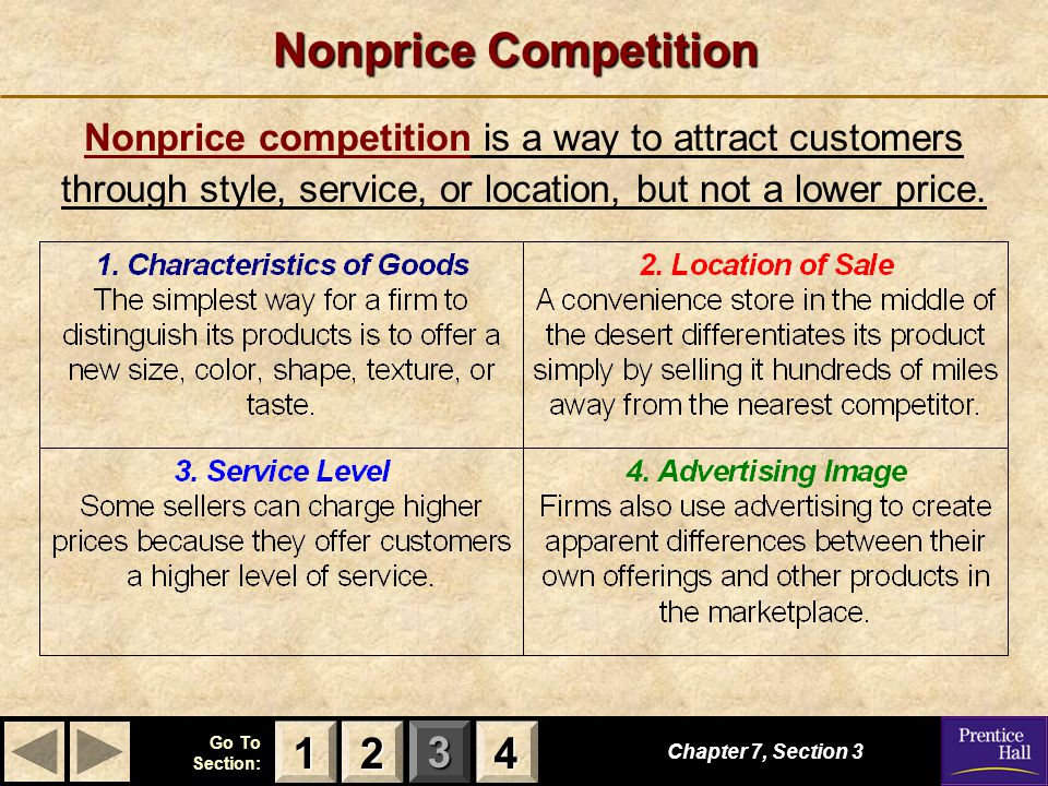 123 Go To Section: 4 Chapter 7, Section 3 Nonprice competition is a way to attract customers through style, service, or location, but not a lower pric