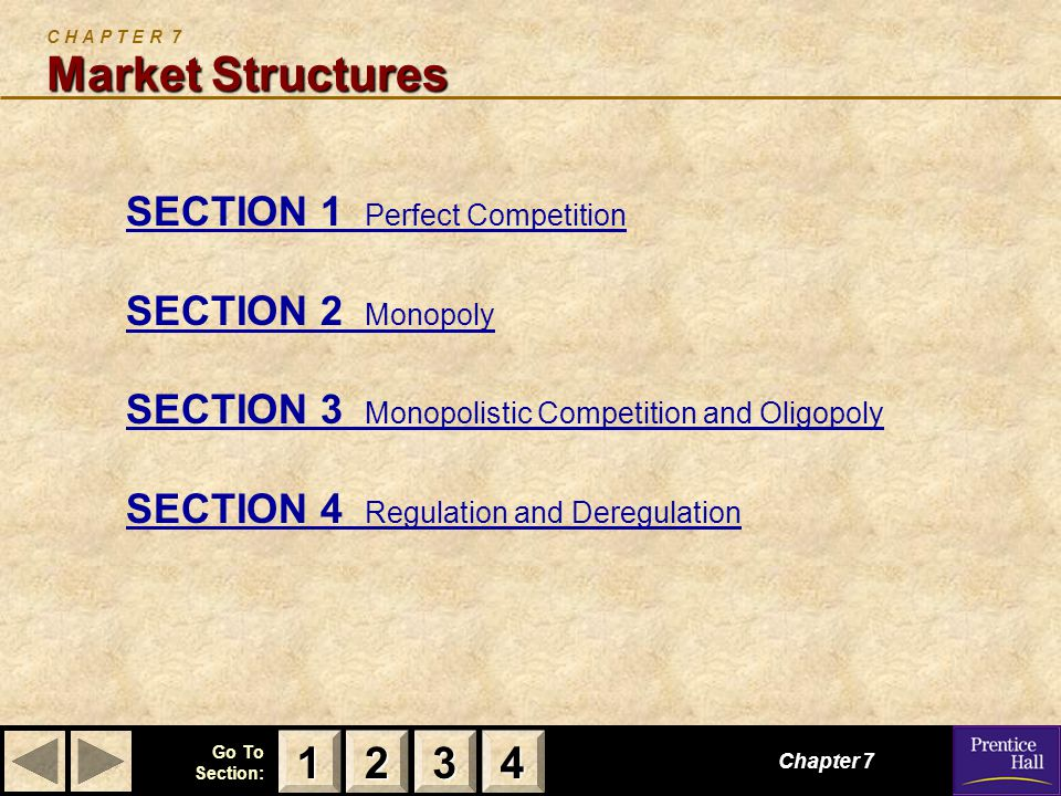 123 Go To Section: 4 Market Structures C H A P T E R 7 Market Structures SECTION 1 Perfect Competition SECTION 2 Monopoly SECTION 3 Monopolistic Competition and Oligopoly SECTION 4 Regulation and Deregulation Chapter 7 2222 3333 4444 1111