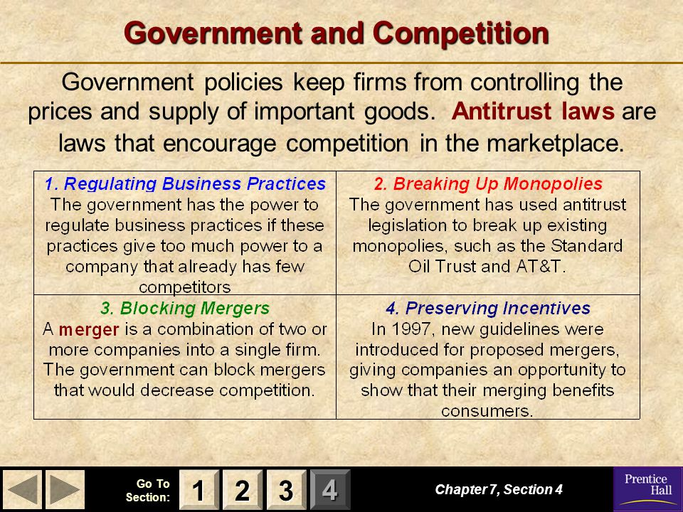 123 Go To Section: 4 Government and Competition Chapter 7, Section 4 Government policies keep firms from controlling the prices and supply of important goods.