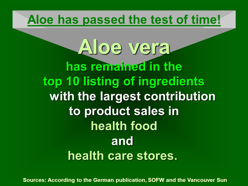 Sources: According to the German publication, SOFW and the Vancouver Sun Aloe has passed the test of time! Aloe vera has remained in the top 10 listin