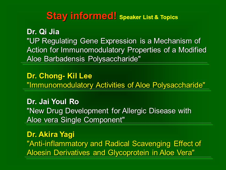 Dr. Chong- Kil Lee Immunomodulatory Activities of Aloe Polysaccharide Dr.