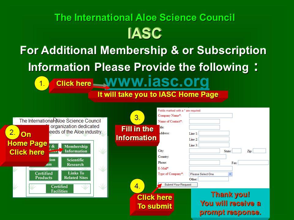 IASCIASC The International Aloe Science Council The International Aloe Science Council For Additional Membership & or Subscription Information Please