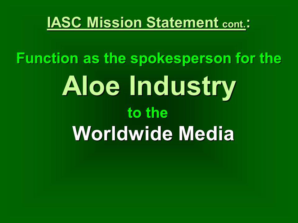 IASC Mission Statement cont.