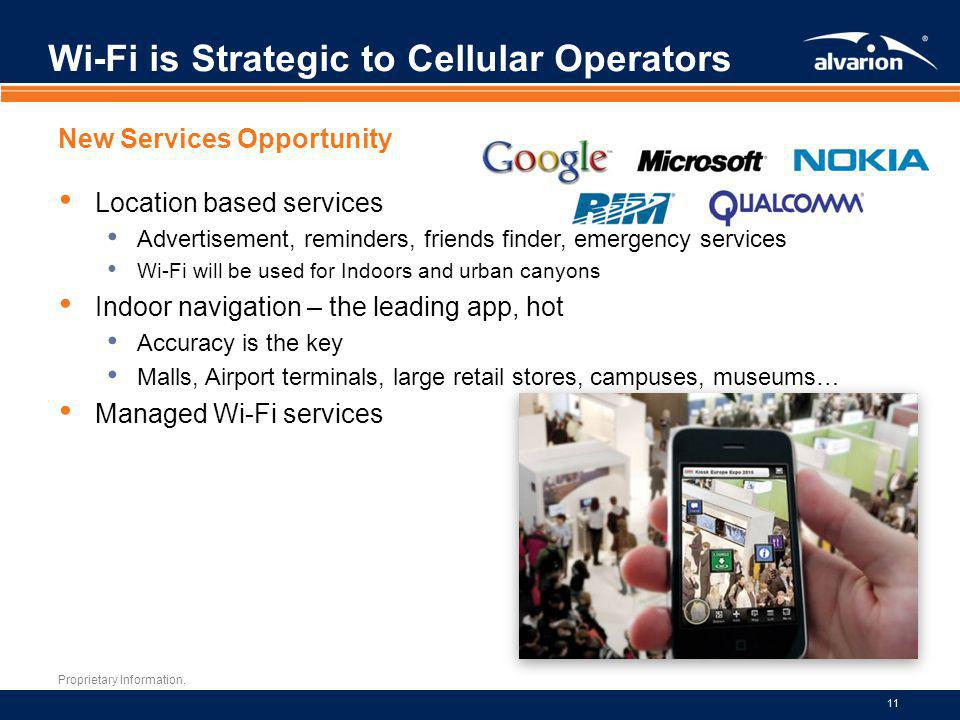 Proprietary Information. 11 Wi-Fi is Strategic to Cellular Operators New Services Opportunity Location based services Advertisement, reminders, friend
