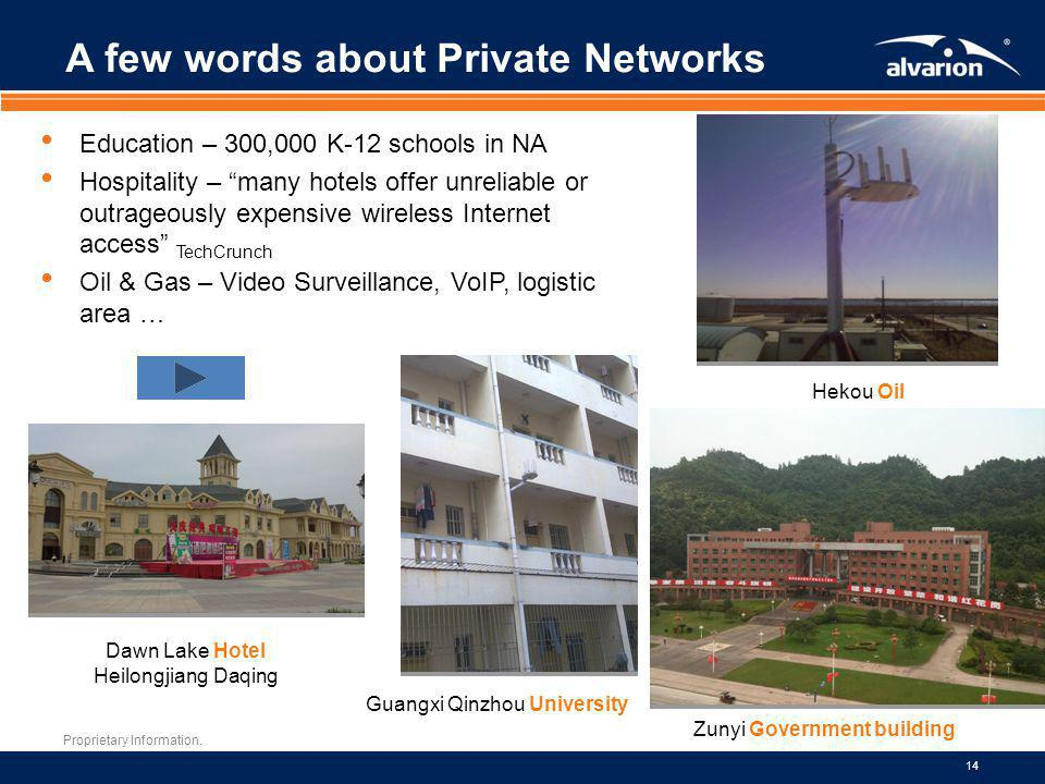 Proprietary Information. 14 A few words about Private Networks Education – 300,000 K-12 schools in NA Hospitality – many hotels offer unreliable or ou