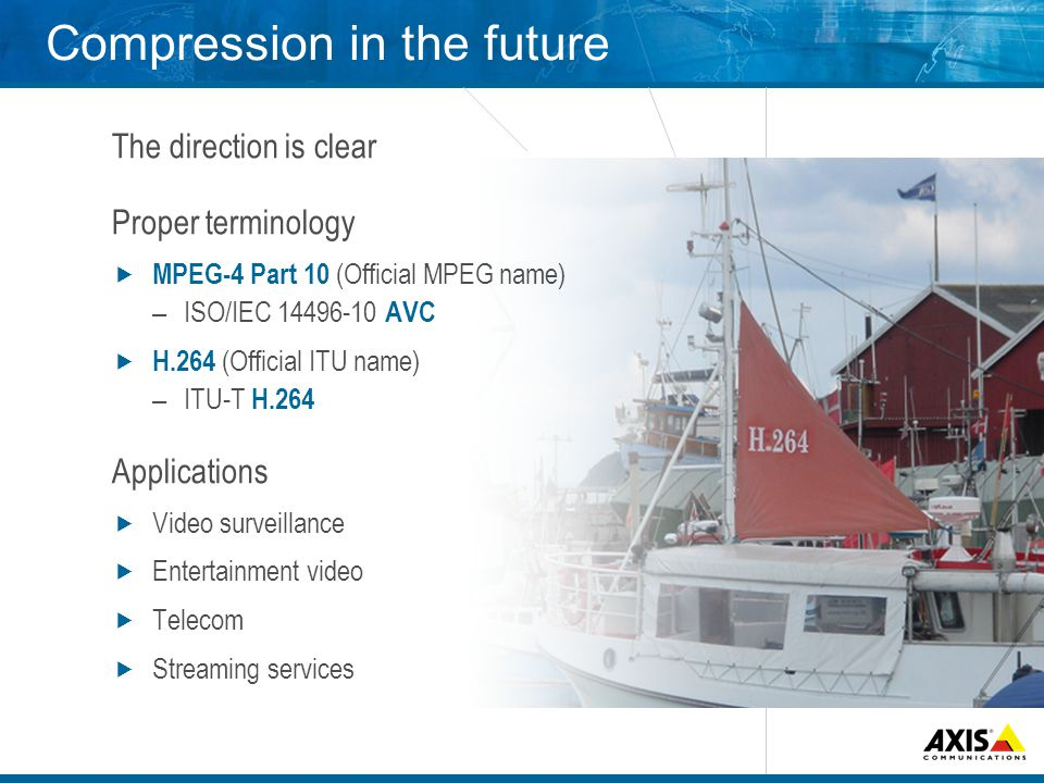 Compression in the future The direction is clear Proper terminology MPEG-4 Part 10 (Official MPEG name) – ISO/IEC AVC H.264 (Official ITU name) – ITU-T H.264 Applications Video surveillance Entertainment video Telecom Streaming services