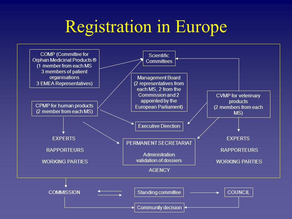 Registration in Europe Future outlook Revision proposed July 2001 To complete the single market To increase transparency To favour competitiveness of the industry To prepare EU enlargement