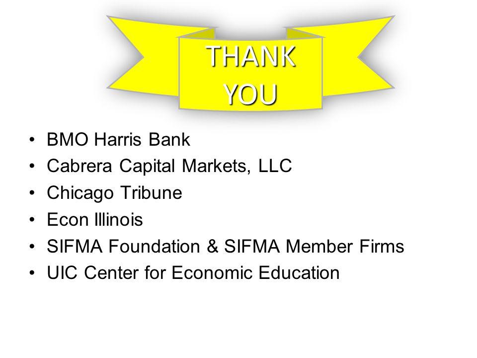 BMO Harris Bank Cabrera Capital Markets, LLC Chicago Tribune Econ Illinois SIFMA Foundation & SIFMA Member Firms UIC Center for Economic Education THANKYOUTHANKYOU