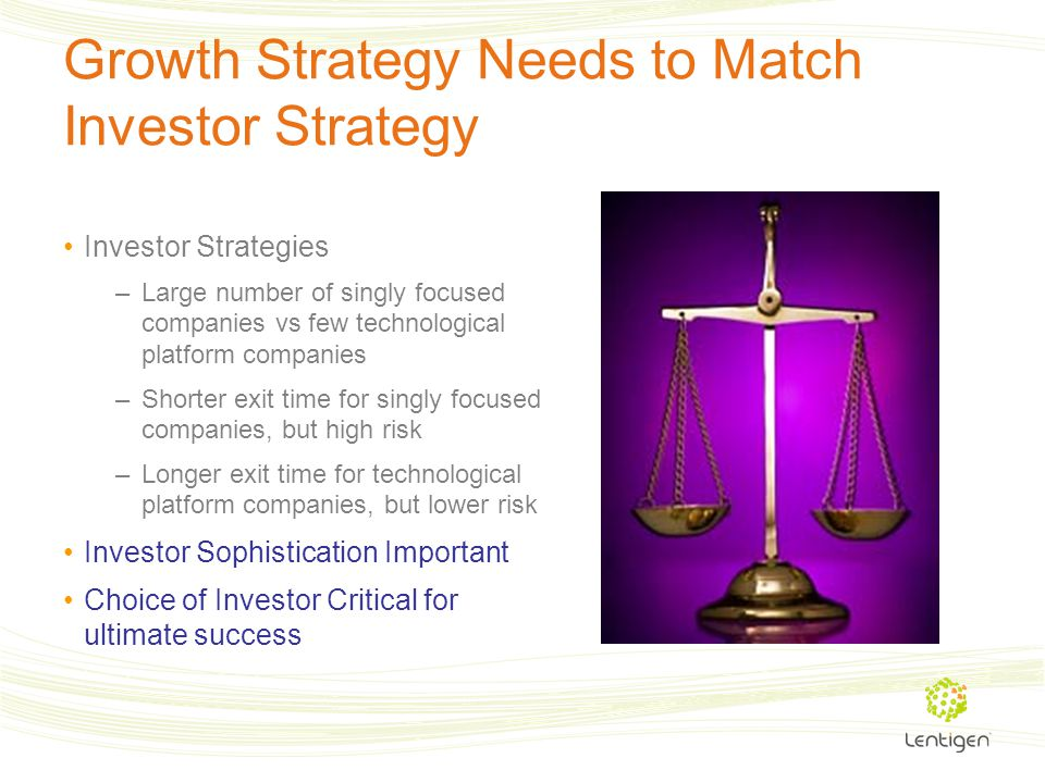 Growth Strategy Needs to Match Investor Strategy Investor Strategies –Large number of singly focused companies vs few technological platform companies