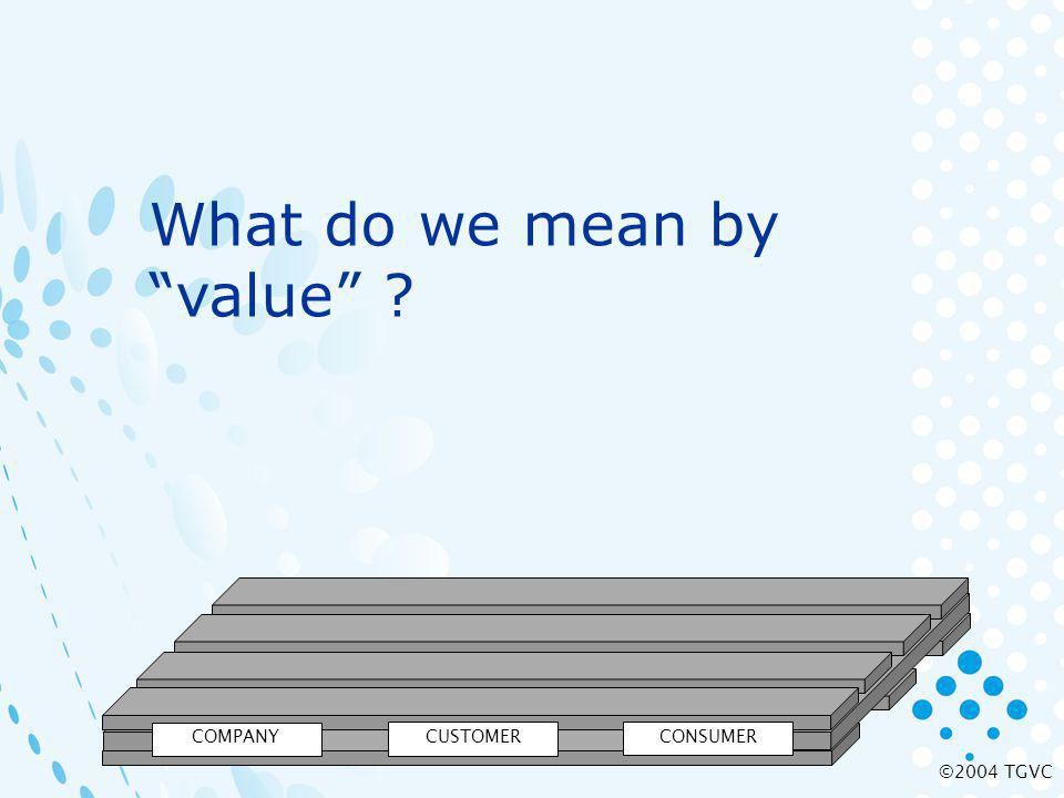 ©2004 TGVC COMPANY CUSTOMER CONSUMER What do we mean by value