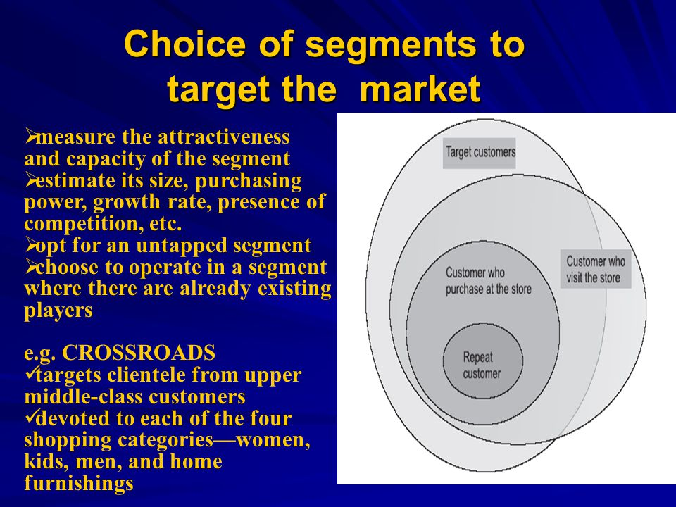 Choice of segments to target the market measure the attractiveness and capacity of the segment estimate its size, purchasing power, growth rate, presence of competition, etc.
