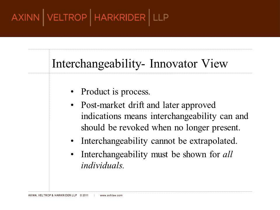AXINN, VELTROP & HARKRIDER LLP © 2011 | www.avhlaw.com At the hearings, the representative for BIO asked that FDA interpret Sections (a) and (k) of the act as mutually exclusive, so a product that would qualify under the biosimilarity provisions of (k) not be granted approval under (a).