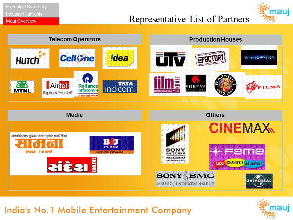 Representative List of Partners Executive Summary Industry Highlights Mauj Overview Telecom Operators Production Houses Others Media