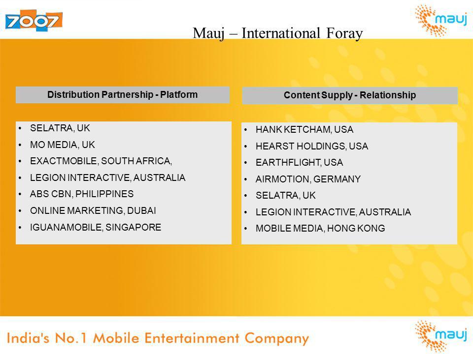 Distribution Partnership - Platform Content Supply - Relationship SELATRA, UK MO MEDIA, UK EXACTMOBILE, SOUTH AFRICA, LEGION INTERACTIVE, AUSTRALIA ABS CBN, PHILIPPINES ONLINE MARKETING, DUBAI IGUANAMOBILE, SINGAPORE HANK KETCHAM, USA HEARST HOLDINGS, USA EARTHFLIGHT, USA AIRMOTION, GERMANY SELATRA, UK LEGION INTERACTIVE, AUSTRALIA MOBILE MEDIA, HONG KONG Mauj – International Foray