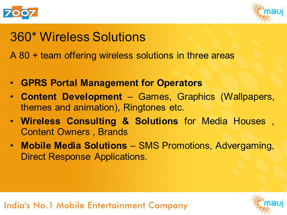 360* Wireless Solutions A 80 + team offering wireless solutions in three areas GPRS Portal Management for Operators Content Development – Games, Graph