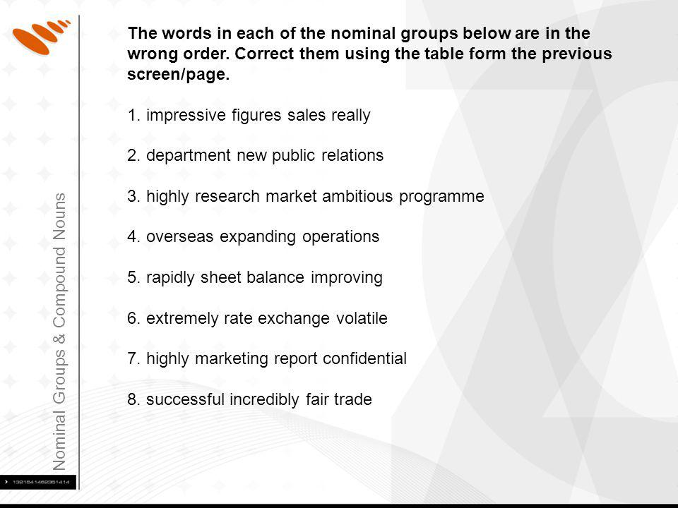 Nominal Groups & Compound Nouns The words in each of the nominal groups below are in the wrong order.