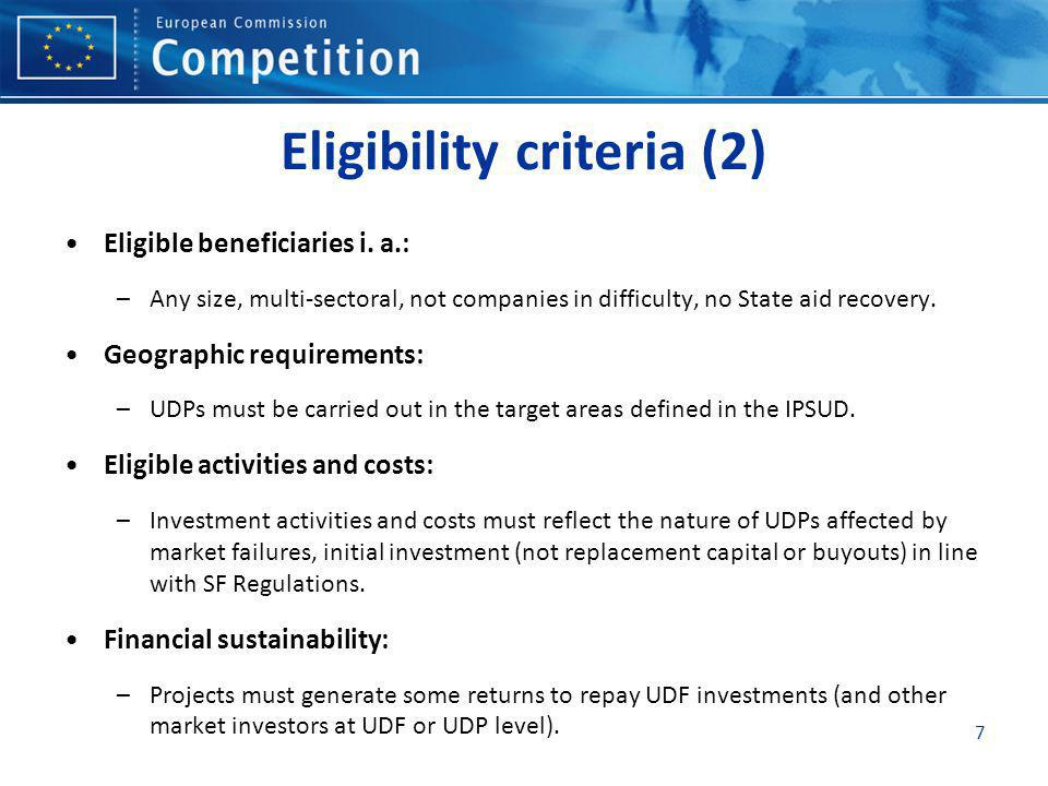 7 Eligibility criteria (2) Eligible beneficiaries i.