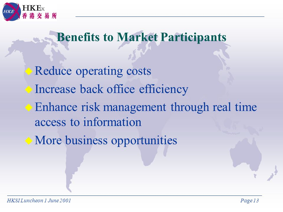 HKSI Luncheon 1 June 2001Page 13 Benefits to Market Participants u Reduce operating costs u Increase back office efficiency u Enhance risk management