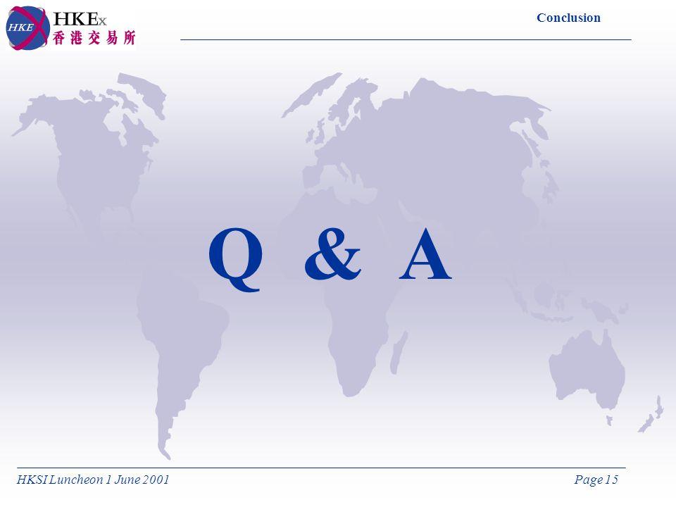 HKSI Luncheon 1 June 2001Page 15 Conclusion Q & A