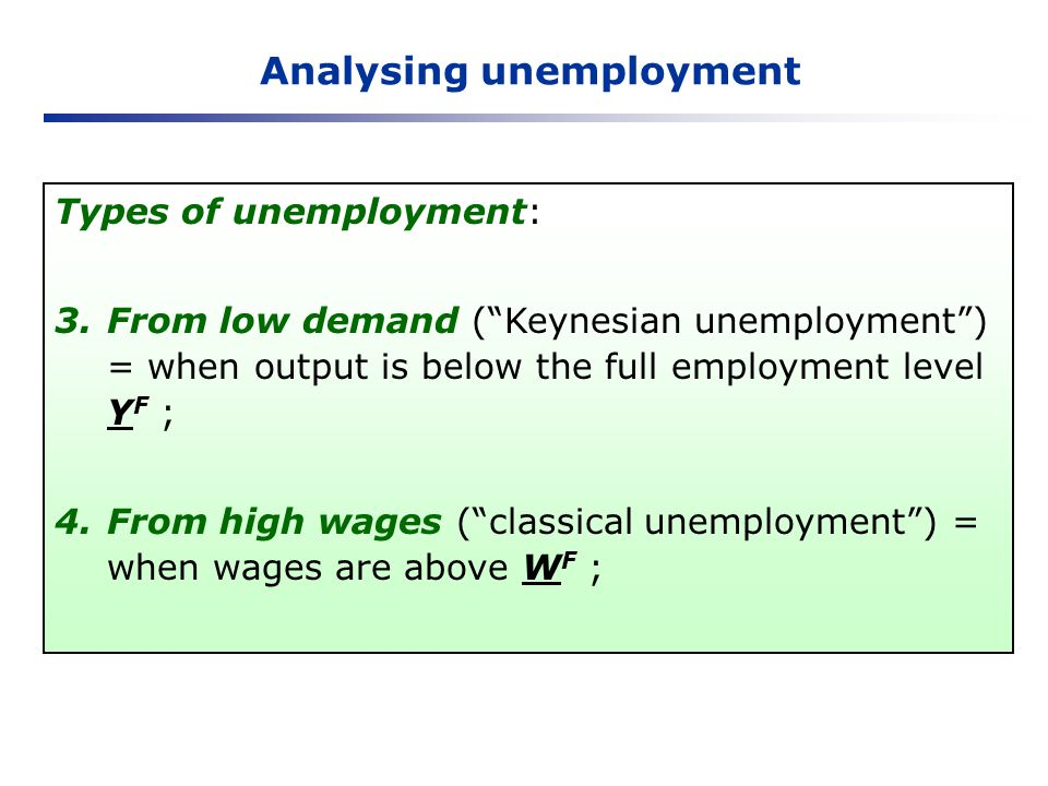 Analysing unemployment Types of unemployment: 3.From low demand (Keynesian unemployment) = when output is below the full employment level Y F ; 4.From