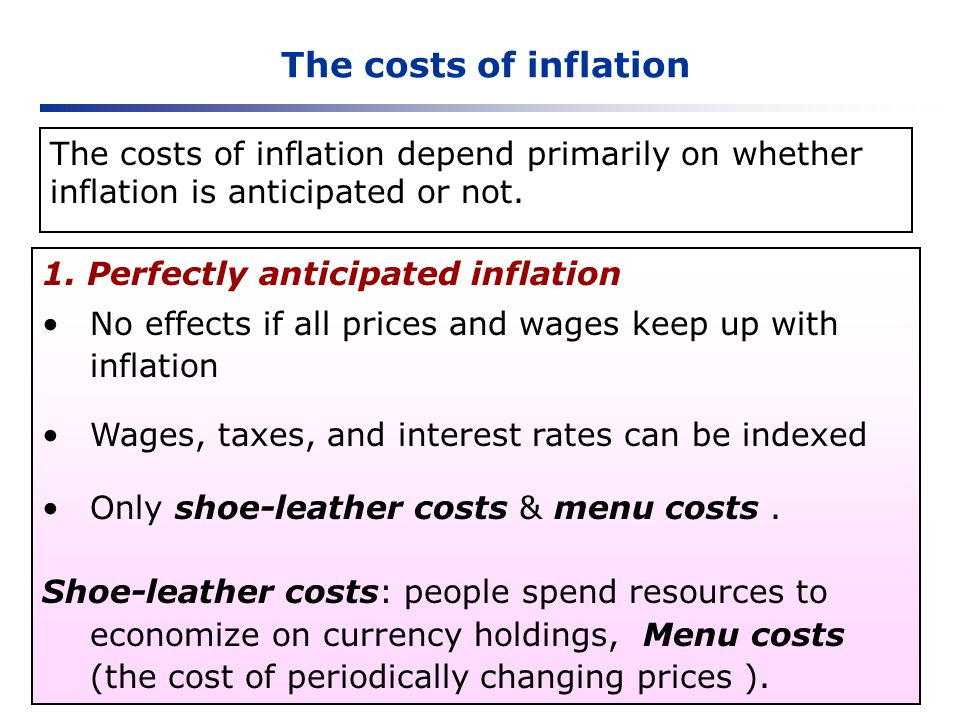 The costs of inflation 1. Perfectly anticipated inflation No effects if all prices and wages keep up with inflation Wages, taxes, and interest rates c