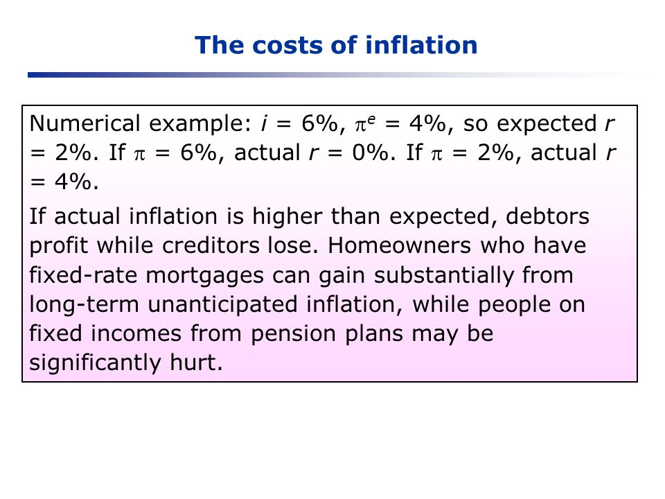 The costs of inflation Numerical example: i = 6%, e = 4%, so expected r = 2%. If = 6%, actual r = 0%. If = 2%, actual r = 4%. If actual inflation is h