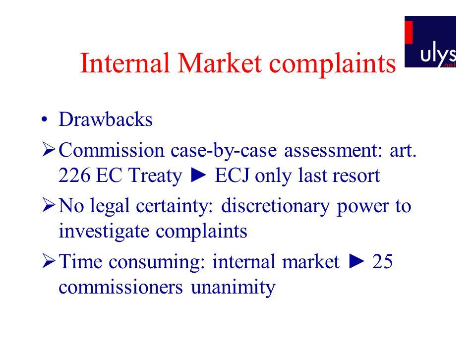Internal Market complaints Drawbacks Commission case-by-case assessment: art.