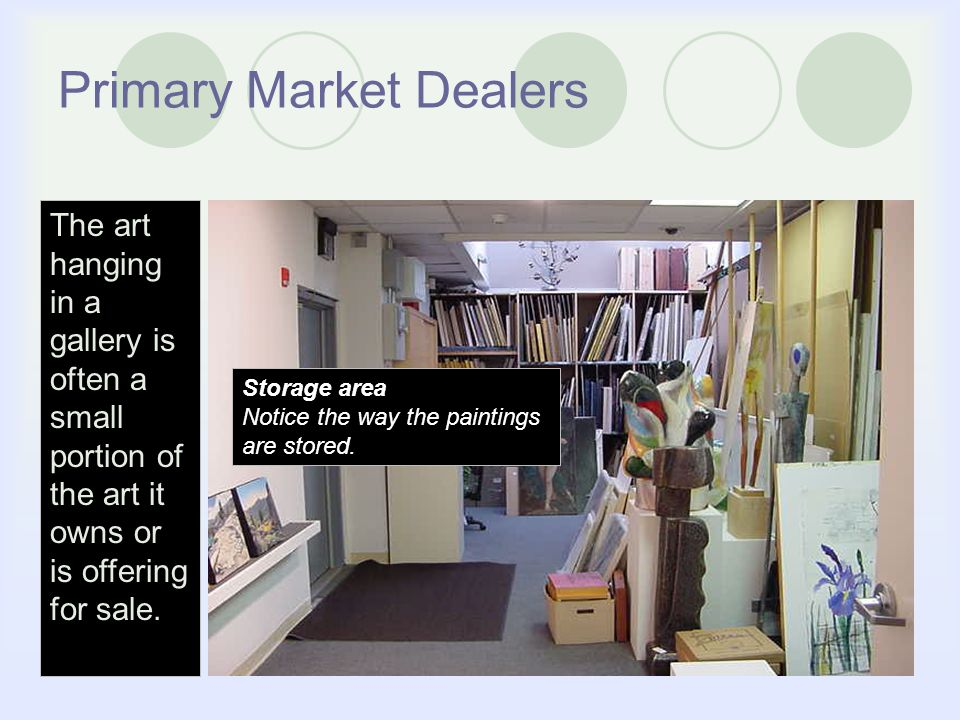 Primary Market Dealers Storage area Notice the way the paintings are stored.