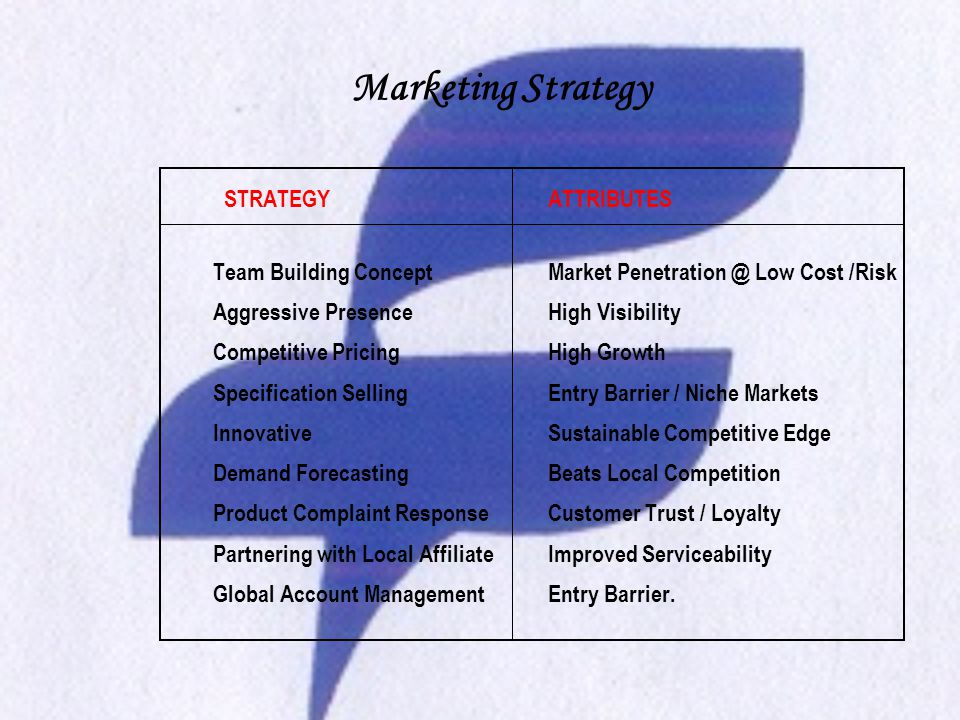 Marketing Strategy STRATEGYATTRIBUTES Team Building ConceptMarket Penetration @ Low Cost /Risk Aggressive PresenceHigh Visibility Competitive PricingHigh Growth Specification Selling Entry Barrier / Niche Markets Innovative Sustainable Competitive Edge Demand ForecastingBeats Local Competition Product Complaint ResponseCustomer Trust / Loyalty Partnering with Local AffiliateImproved Serviceability Global Account ManagementEntry Barrier.