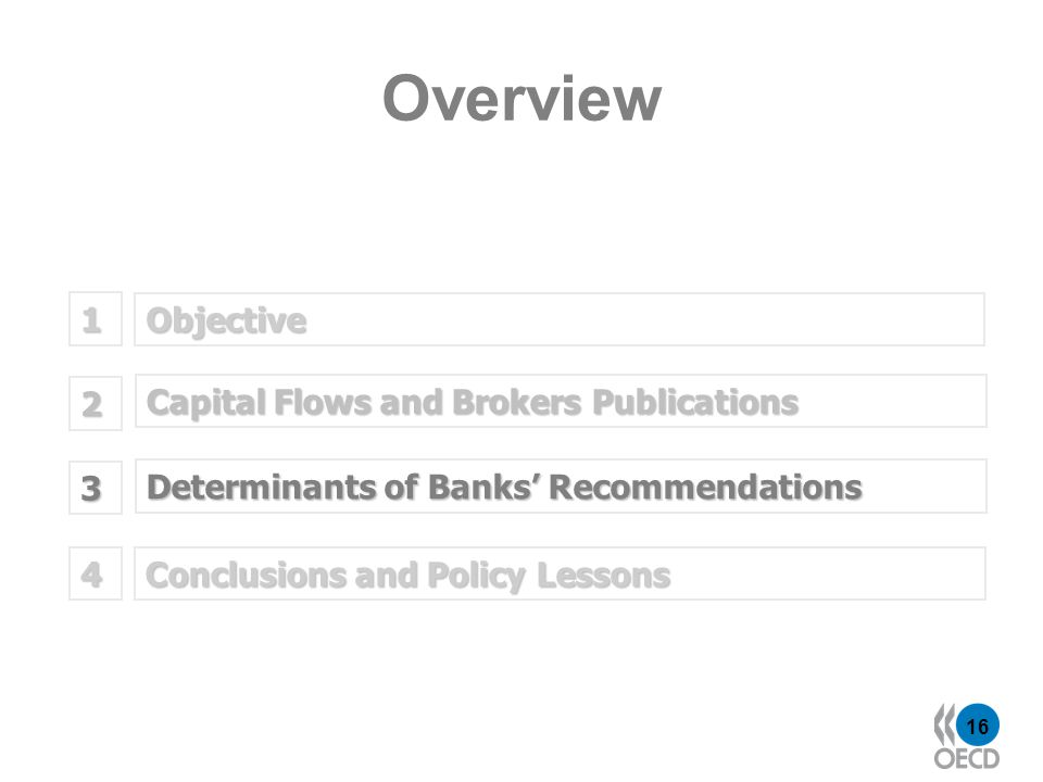 16 Objective 1 Determinants of Banks Recommendations 2 Capital Flows and Brokers Publications 3 Overview Conclusions and Policy Lessons 4