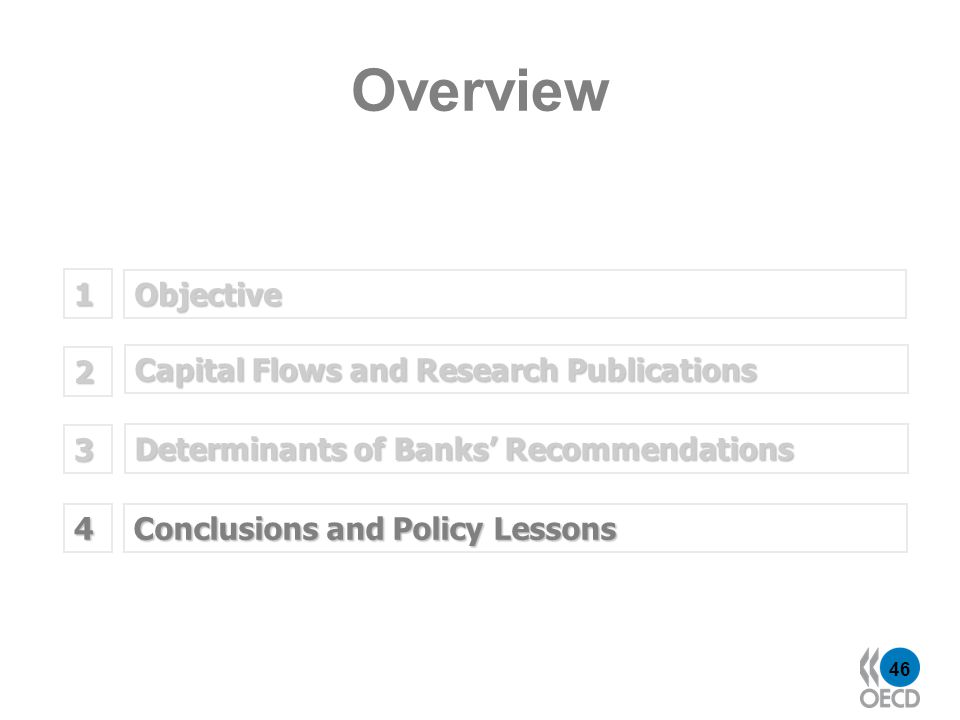 46 Objective 1 Determinants of Banks Recommendations 2 Capital Flows and Research Publications 3 Overview Conclusions and Policy Lessons 4