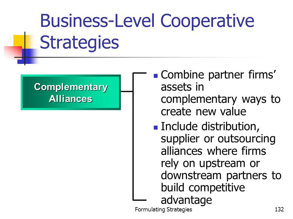 Formulating Strategies132 Business-Level Cooperative Strategies Combine partner firms assets in complementary ways to create new value Include distrib