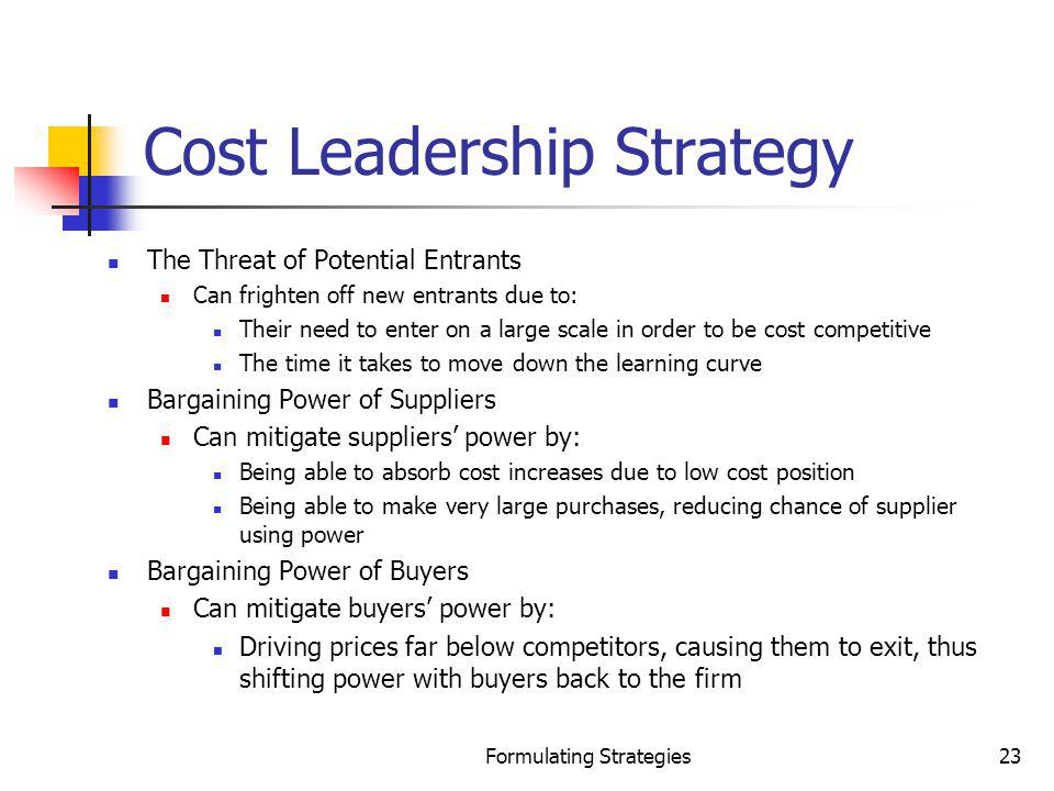 Formulating Strategies23 Cost Leadership Strategy The Threat of Potential Entrants Can frighten off new entrants due to: Their need to enter on a larg