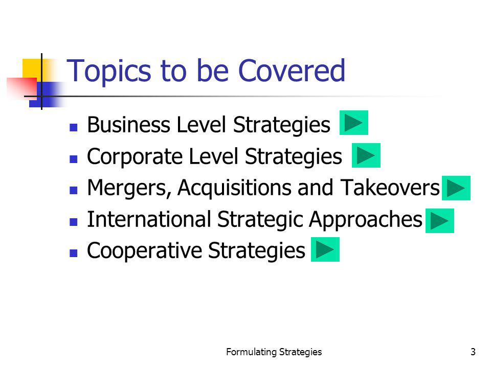 Formulating Strategies144 Assessment of Corporate-Level Cooperative Strategies Compared to business-level strategies Broader in scope More complex More costly Can lead to competitive advantage and value when: Successful alliance experiences are internalized The firm uses such strategies to develop useful knowledge about how to succeed in the future