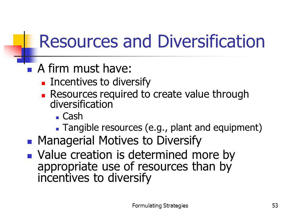 Formulating Strategies53 Resources and Diversification A firm must have: Incentives to diversify Resources required to create value through diversific
