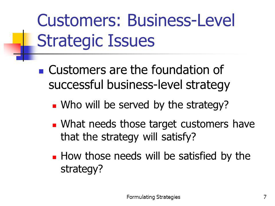 Formulating Strategies28 Differentiation Strategy Potential Entrants Can defend against new entrants because: New products must surpass proven products New products must be at least equal to performance of proven products, but offered at lower prices Power of Suppliers Can mitigate suppliers power by: Absorbing price increases due to higher margins Passing along higher supplier prices because buyers are loyal to differentiated brand