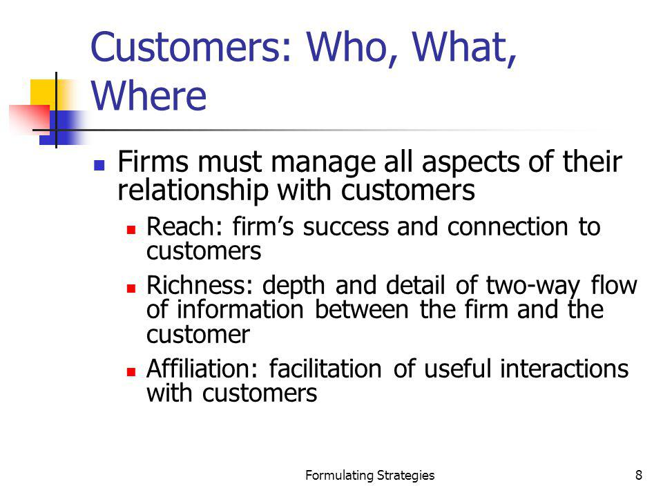 Formulating Strategies89 Identifying International Opportunities International strategy A strategy through which the firm sells its goods or services outside its domestic market Reasons to having an international strategy International markets yield potential new opportunities New market expansion extends product life cycle Needed resources can be secured Greater potential product demand